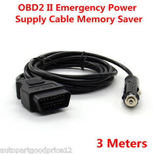 3 Meters Obd2 Automotive Ecu Emergency Power Supply Cable Connector Memory Saver