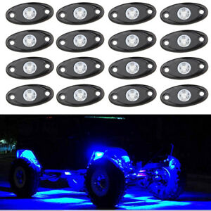 16pcs Blue Cree Led Rock Light Trail Rig Decorative Underbody Reverse Lamp Suv