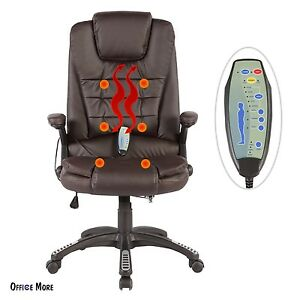 Massage Chair Heated Vibrating Ergonomic Computer Office Desk Brown Executive