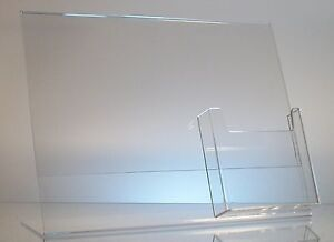 5 Acrylic 11 X 8 1 2 Slanted Sign Holders With 4x9 Tri fold Brochure Holder