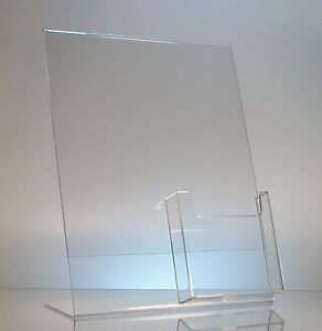 5 Acrylic 8 1 2x11 Slanted Sign Holders With 4x9 Tri fold Brochure Holder