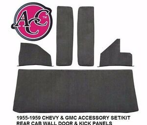 Acc 1955 1959 Chevy Gmc Truck Accessory Kit Door Kick Panels Rear Cab Wall