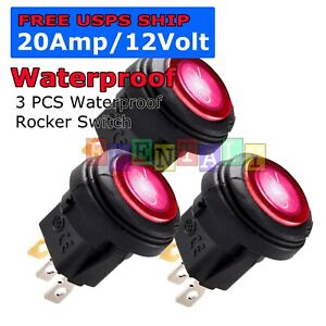 3x M1 Blue Led Light 12v 20a Car Auto Boat Round Rocker Waterproof Toggle Switch