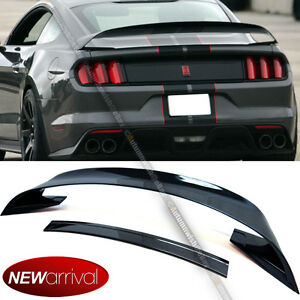 Fit 15 17 Mustang Abs Glossy Black Gt350r Style Rear Trunk Wing W Lower Spoiler