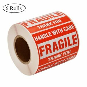 6 Rolls 2x3 500 roll Fragile Stickers Shipping Labels Handle With Care Thank You