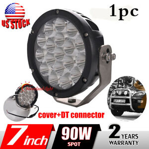 1x 7inch 90w Round Led Work Light Spot Driving Headlight For Offroad Jeep 4wd