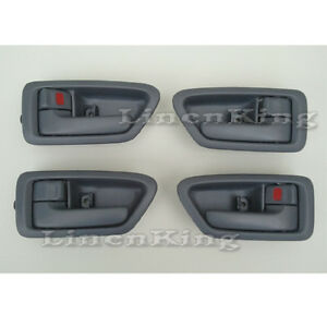 Inside Door Handle Front Rear Left Right Set 4 Gray Fits 97 01 Toyota Camry