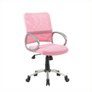 Boss Office Products Mesh Back With Pewter Task Office Chair In Pink