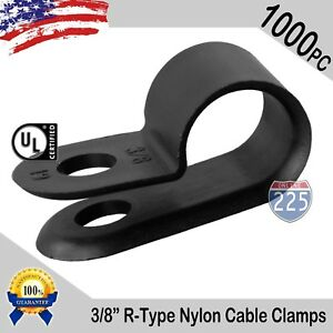 1000 Pcs Pack 3 8 Inch R type Cable Clamps Nylon Black Hose Wire Electrical Uv