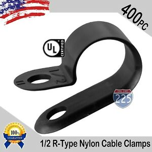 400 Pcs Pack 1 2 Inch R type Cable Clamps Nylon Black Hose Wire Electrical Uv