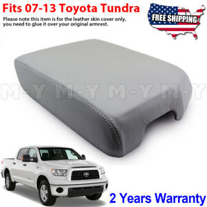Fits 07 13 Toyota Tundra Bucket Seat Leather Armrest Console Lid Cover Gray