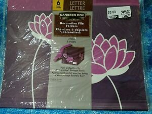 Lot Of 96 Bankers Box Decorative File Folders 3 Tab Letter Purple Flowers