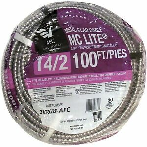 Afc Cable Systems 100 feet 14 gauge Armored Electrical Power Circuits 600v Wire