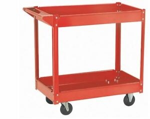 2 Shelf Steel Service Push Shop Cart Storage Utility Rolling 30 In X 16 In Steel