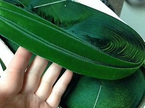 10 Yards Green 7 8 Vintage French Velvet Ribbon Rayon Made In France