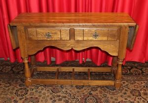 Antique Oak Spanish Style Sofa Console Table Drop Leafs Nice Item
