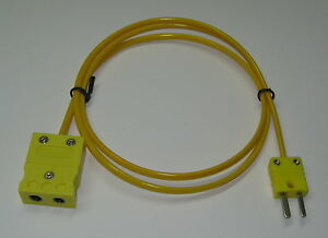 K type Thermocouple Extension Cable Wire Standard To Miniature Connector 3 15 Ft