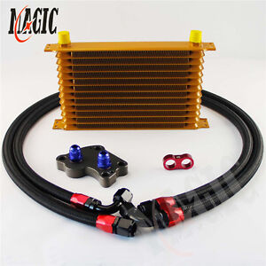 An10 13 Row Trust Oil Cooler Kit For Bmw Mini Cooper S R53 Supercharger Gold
