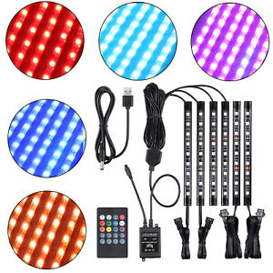 6x Motorcycle Car 9 Led Neon Lights Strips Remote Control 5050smd Glow Light Kit