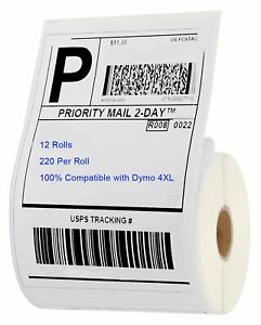12 Rolls 220 roll Direct Thermal Shipping Labels 4x6 Compatible 1744907 Dymo 4xl