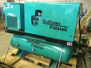New 10 Hp Sullivan palatek Rotary Screw Compressor With Refrigerated Air Dryer