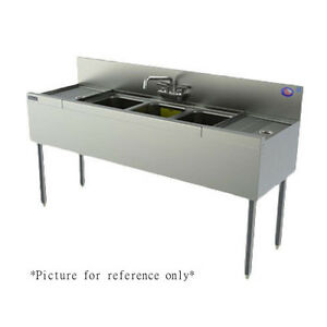 Perlick Ts43l 48 Underbar 3 Compartment Sink With Right Drainboard