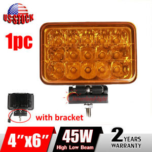 4x6 45w Amber Led Work Light Spot High Low Beam Driving Fog Truck 4wd Bracket