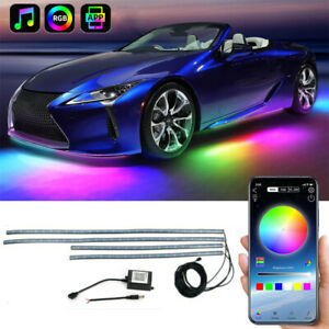 Rgb Led Under Car Tube Strip Underbody Glow Neon Light Kit Phone App Control