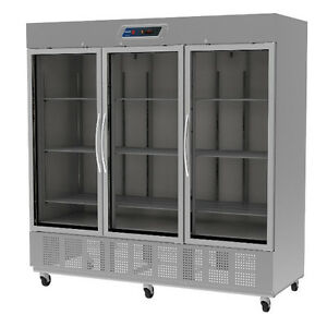 Fagor Qvr 3g Three Section Reach in Refrigerator With Glass Doors 76 Cu Ft