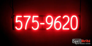 Spellbrite Ultra bright 7 Digit Phone Number Sign Neon Look Led Performance