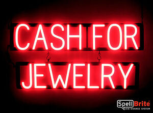 Spellbrite Ultra bright Cash For Jewelry Sign Neon Look Led Performance