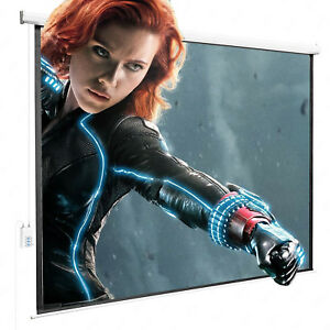 100 projection Screen 4 3 Electric Remote Control Hd Movie Theater Matte White