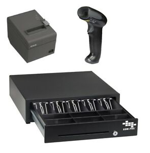 Pos Hardware Bundle For Square Stand Cash Drawer Receipt Printer Scanner