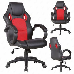 Office Chair Desk Gaming Chair High Back Race Car Style Bucket Seat Red