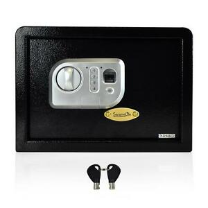 New Electronic Fingerprint Safe Box With Mechanical Override Includes Keys
