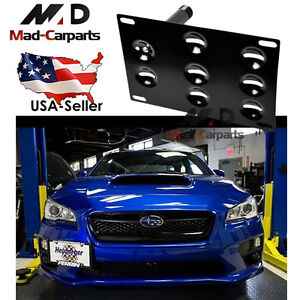 Bumper Tow Hook License Plate Mounting Holder For Subura Wrx Sti Scion Fr s