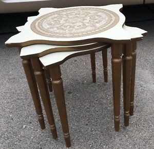 Mid Century Stacking Nesting Tables Vintage Moroccan Marble Styled Inlay Design