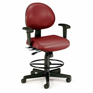 Ofm 24 Hour Faux Leather Swivel Drafting Stool In Wine