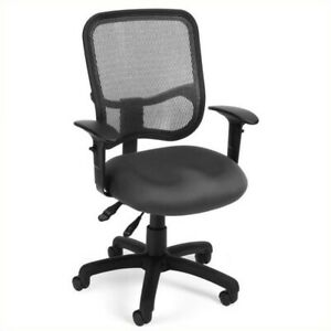 Ofm Mesh Comfort Series Ergonomic Task Office Chair With Arms In Gray