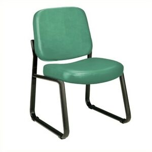 Ofm Armless Vinyl Reception Chair In Teal