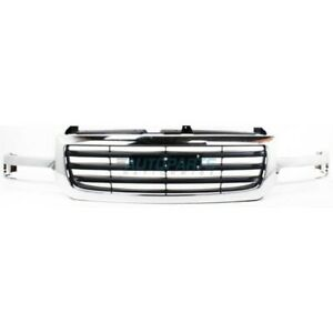 New Front Grille Chrome Black Fits 2003 2007 Gmc Sierra 1500 2500 Gm1200475