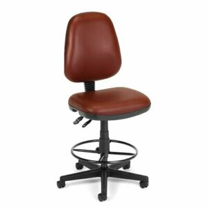 Ofm Straton Faux Leather Swivel Drafting Stool In Wine