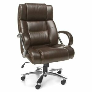 Ofm Avenger Leather Swivel Office Chair In Brown