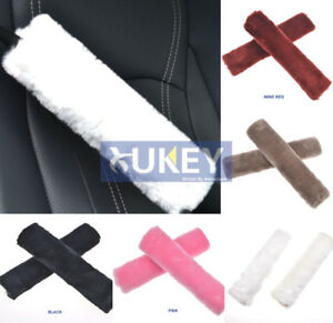 Fluffy Furry Velvet Fur Car Seatbelt Seat Belt Covers Harness Pads Pink Children