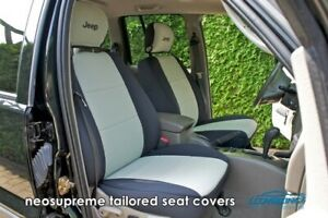 Coverking Neosupreme Tailored Front Seat Covers For Jeep Liberty With Logo