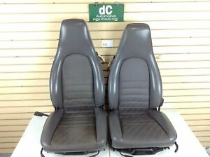 Porsche 911 944 964 Grey Leather Power Seat Set W Scripted Cloth Insert 023
