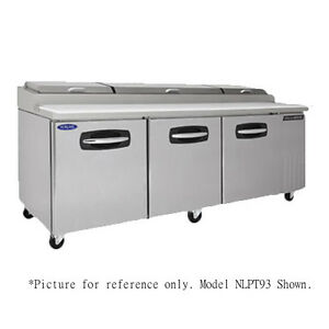 Nor lake Nlpt93 007 Pizza Prep Table Refrigerated Counter With Drawers And Doors