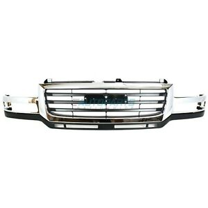 New Front Grille Chrome Black Fits 2003 2006 Gmc Sierra 2500 Hd Gm1200568