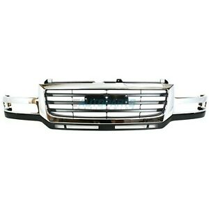 Front Grille Chrome Black Fits 2003 2006 Gmc Sierra 2500 Hd Gm1200568