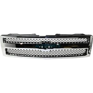 Grille Black Mesh Chrome Frame Fits 2007 13 Chevrolet Silverado 1500 Gm1200572